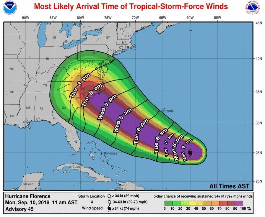 Florence strengthens to Category 4, takes aim at Carolinas