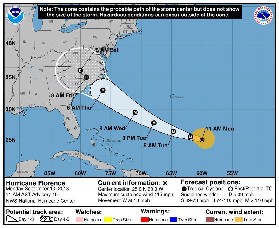 Hurricane Florence: 'Extremely dangerous' storm to hit US East Coast on Thursday