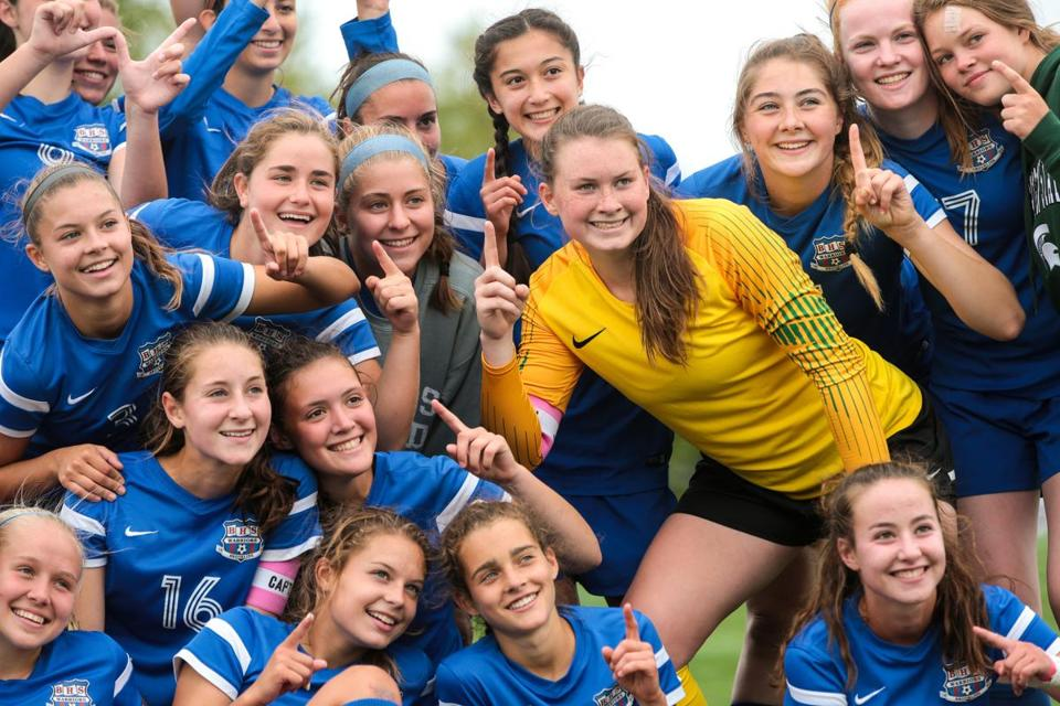 09/09/2018 CHESTNUT HILL, MA Brookline goalie Katherine McElroy (cq) 1, posed for a photo with teammates during a soccer game between Brookline and Beverly held at Skyline Park in Chestnut Hill. (Aram Boghosian for The Boston Globe)