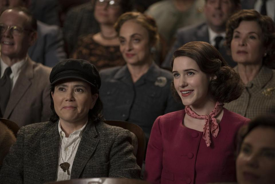 "Alex Borstein (left) and Rachel Brosnahan in ""The Marvelous Mrs. Maisel."""
