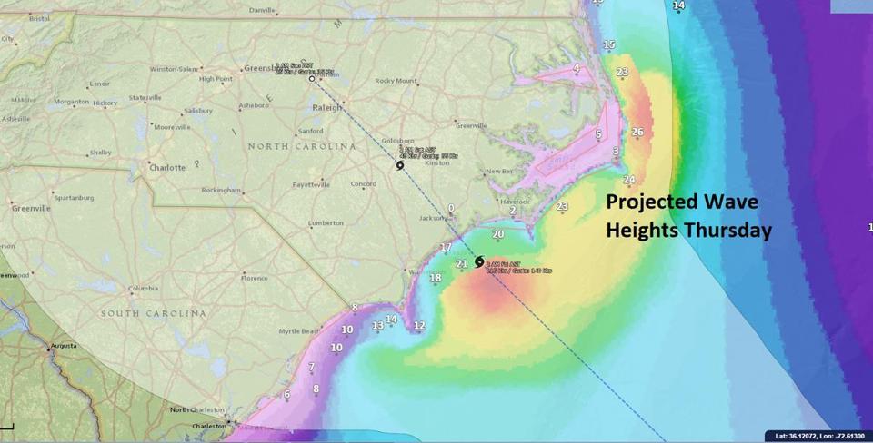 Map of North Carolina Showing Latest GFS, European Models
