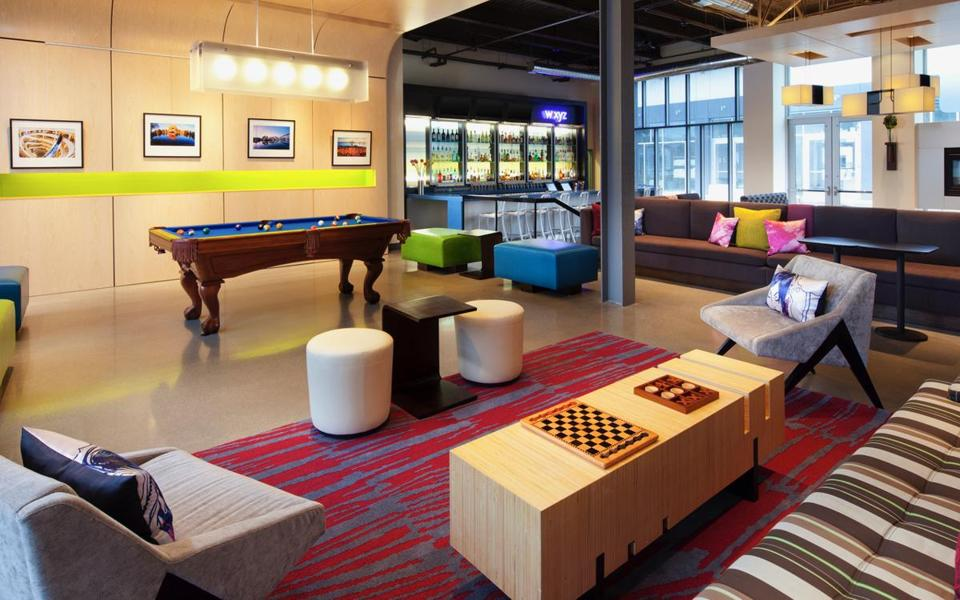 Grab a book, have a snack, or shoot some pool at the XYZ lounge at Aloft San Francisco.