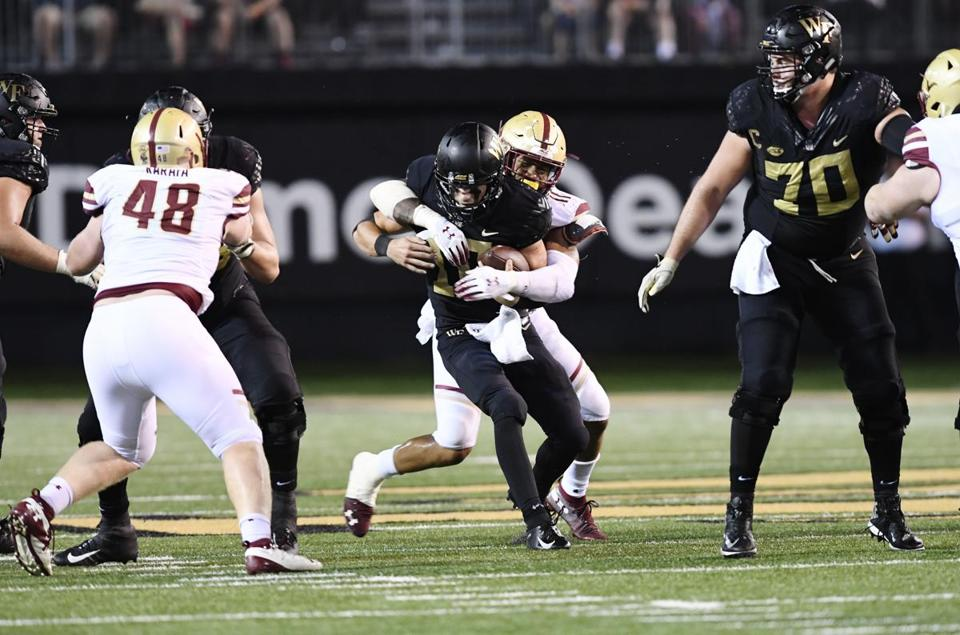 BC's Wyatt Ray (11) records one of his four sacks against Wake Forest QB Sam Hartman.