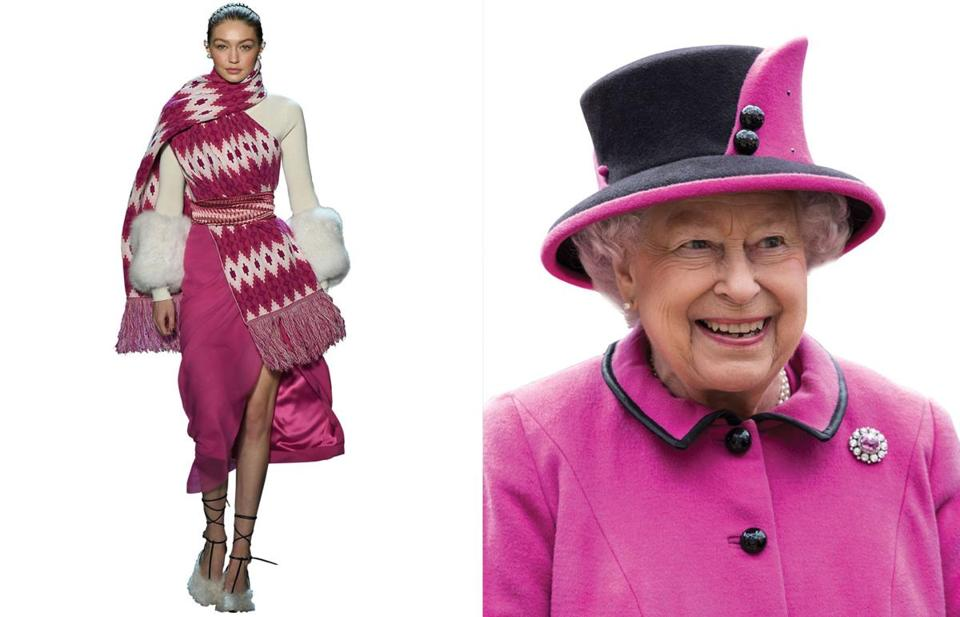 Left: Gigi Hadid walks the runway for Prabal Gurung during New York Fashion Week in February. Right: Queen Elizabeth II attends a ceremony in Windsor.