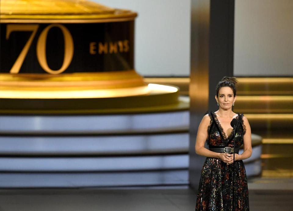 LOS ANGELES, CA - SEPTEMBER 17: Tina Fey speaks onstage during the 70th Emmy Awards at Microsoft Theater on September 17, 2018 in Los Angeles, California. (Photo by Kevin Winter/Getty Images)
