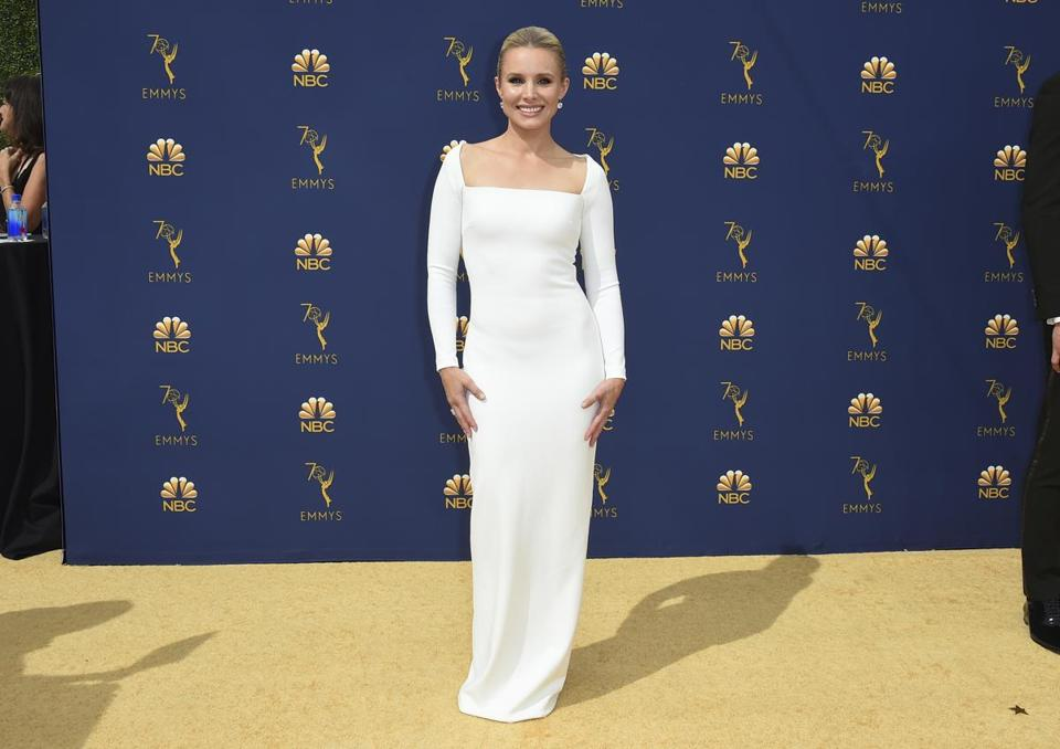 Kristen Bell arrives at the 70th Primetime Emmy Awards on Monday, Sept. 17, 2018, at the Microsoft Theater in Los Angeles. (Photo by Jordan Strauss/Invision/AP)
