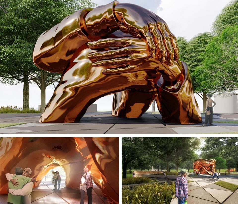 "Renderings of Hank Willis Thomas's proposed design called ""The Embrace"" for the new Martin Luther King Memorial on the Boston Common. The project is led by Mayor Marty Walsh and a nonprofit called MLK Boston. (Hank Willis Thomas)"