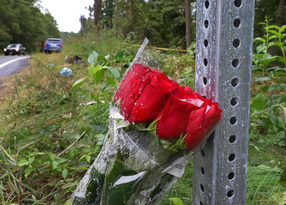 Roses were left at the scene of Monday's fatal attacj.