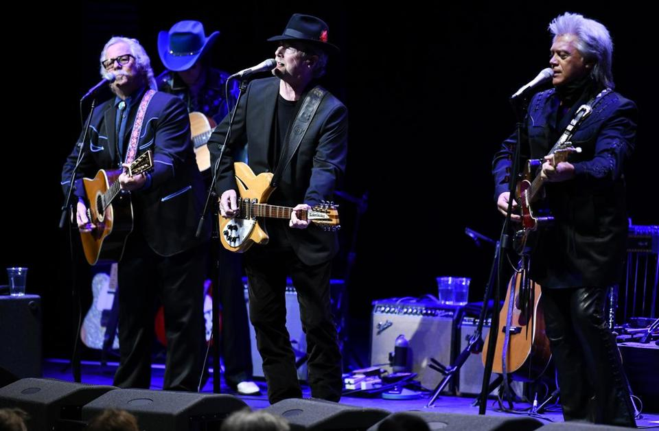 "From left: The Byrds' Chris Hillman and Roger McGuinn play the album ""Sweetheart of the Rodeo"" with Marty Stuart (right) and his band."