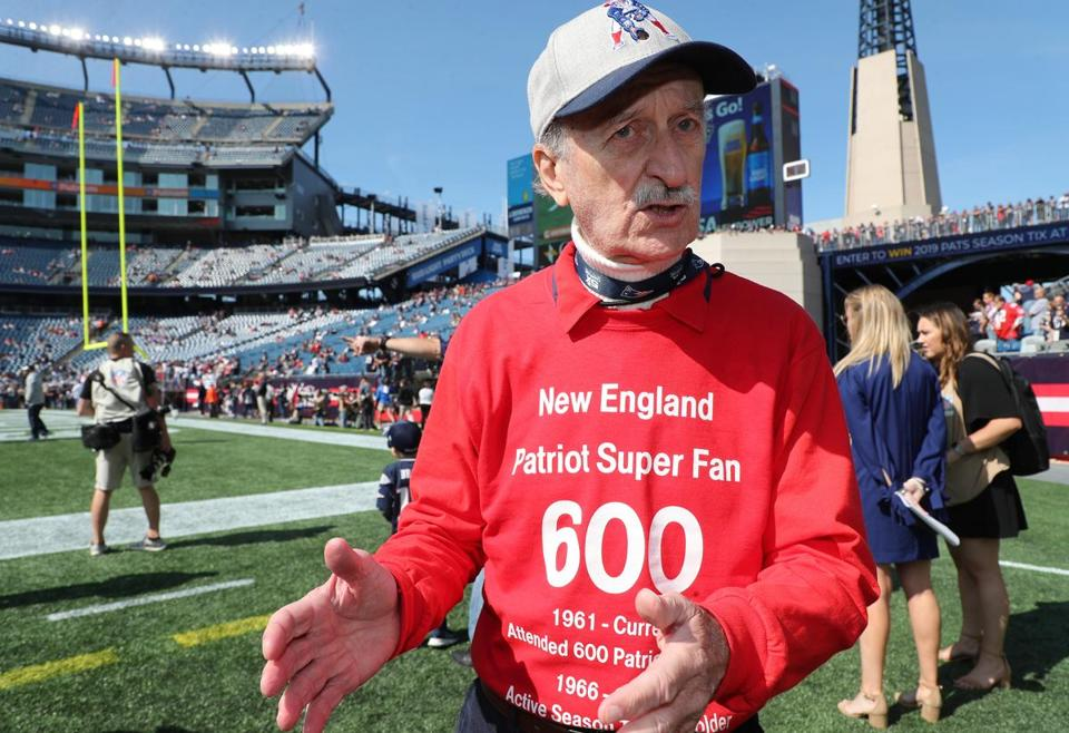 Here is Charles Underhill, a Patriots fan who will attend his 600th Patriots match today.