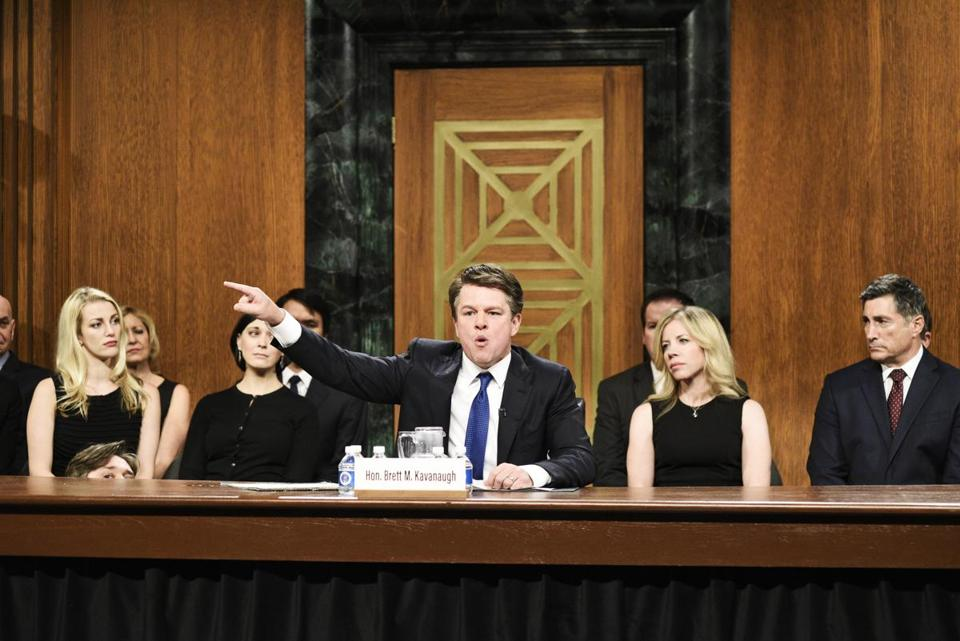 "SATURDAY NIGHT LIVE -- ""Adam Driver"" Episode 1747 -- Pictured: Matt Damon as Judge Brett Kavanaugh during ""Kavanaugh Hearing Cold Open"" in Studio 8H on Saturday, September 29, 2018 -- (Photo by: Will Heath/NBC) 07tycolumn 03namesKimmel"