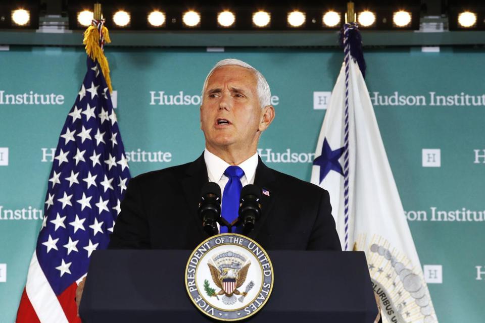 Vice President Mike Pence spoke Thursday at the Hudson Institute in Washington D.C