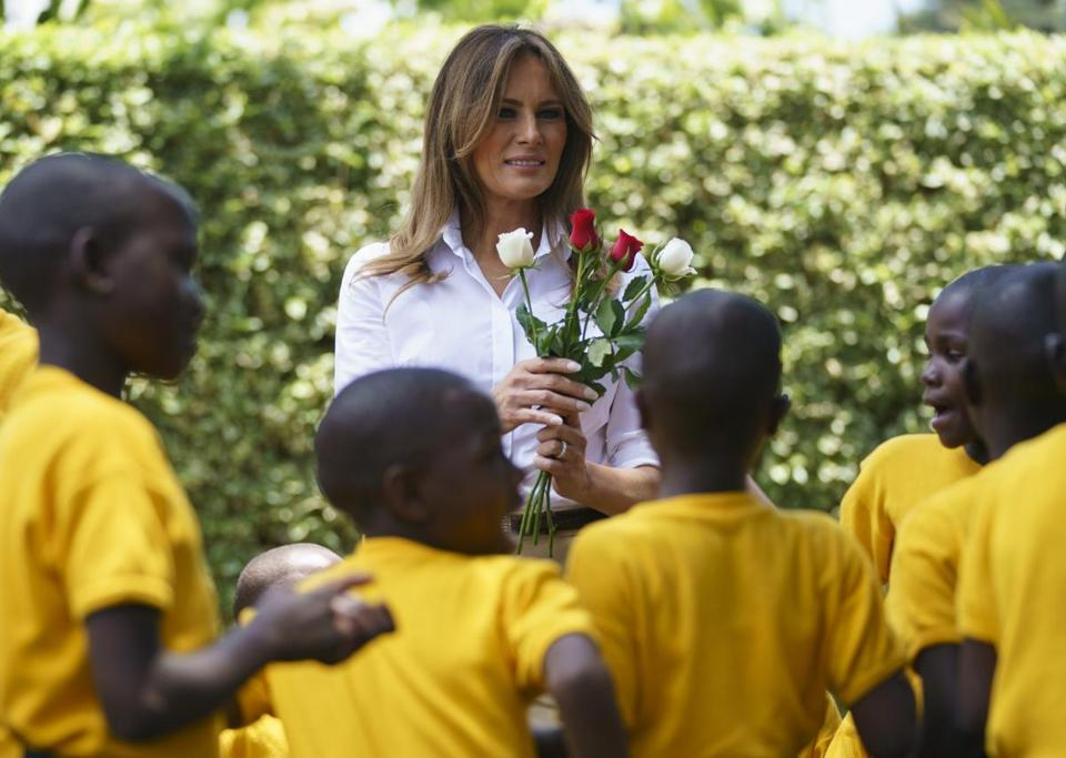 "Melania Trump (pictured Oct. 5 in Limuru, Kenya) will give her first sit-down interview as first lady on ABC's ""20/20."""
