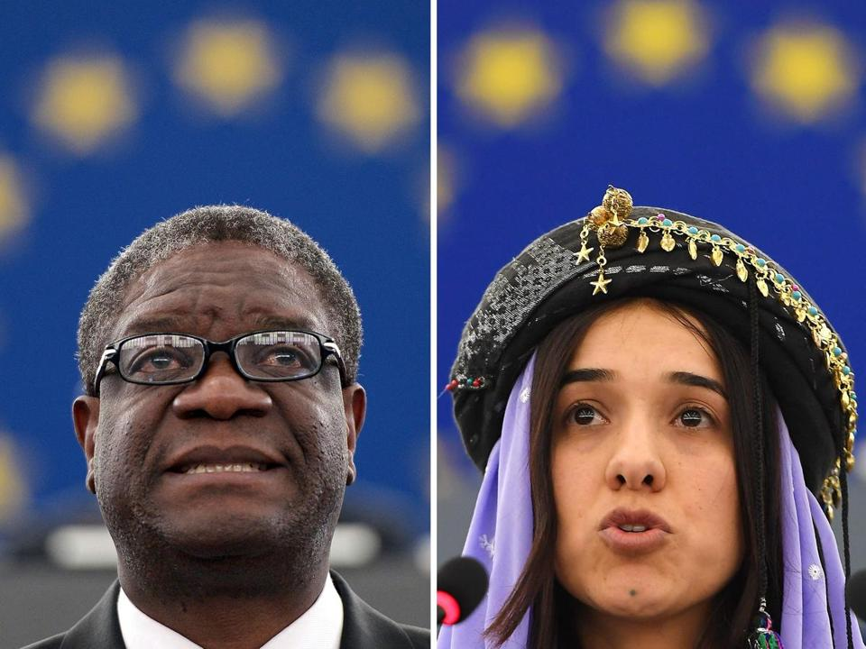 (COMBO) This combination created on October 5, 2018 of file pictures shows Congolese gynaecologist Denis Mukwege (L, on November 26, 2014 at the European Parliament in Strasbourg) and Nadia Murad, public advocate for the Yazidi community in Iraq and survivor of sexual enslavement by the Islamic State jihadists (on December 13, 2016 at the European parliament in Strasbourg). - Congolese doctor Denis Mukwege and Yazidi campaigner Nadia Murad won the 2018 Nobel Peace Prize on October 5, 2018 for their work in fighting sexual violence in conflicts around the world. (Photo by Frederick FLORIN / AFP)FREDERICK FLORIN/AFP/Getty Images