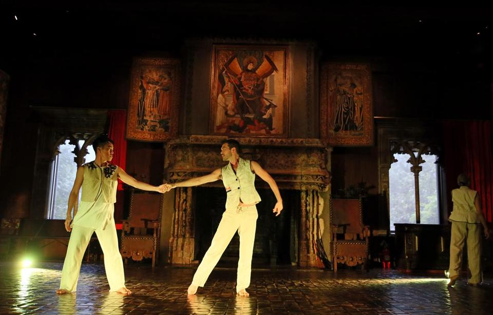 "A rehearsal of ""Dancing Through the Galleries"" in the Tapestry Room at the Gardner Museum."