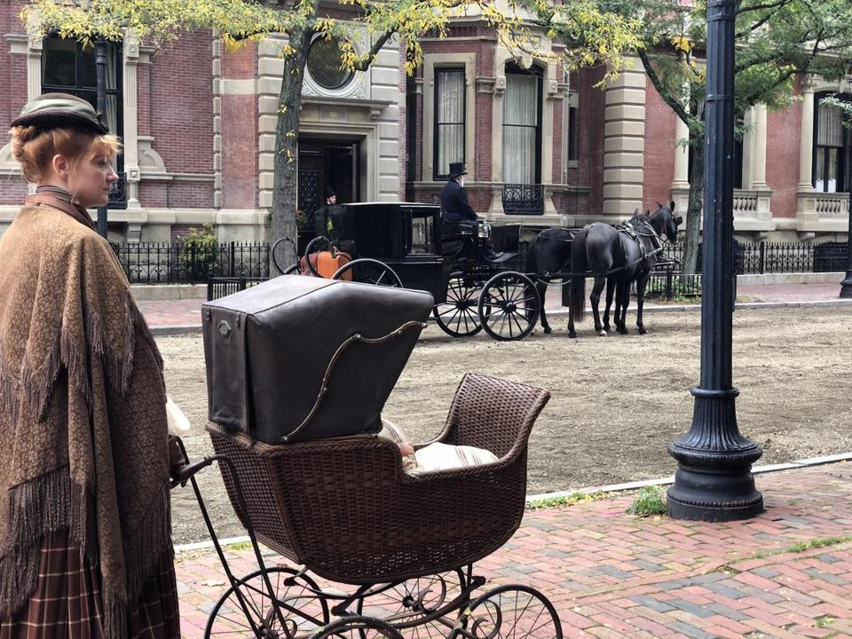 "Filming for ""Little Women"" took place in the Back Bay on Sunday."