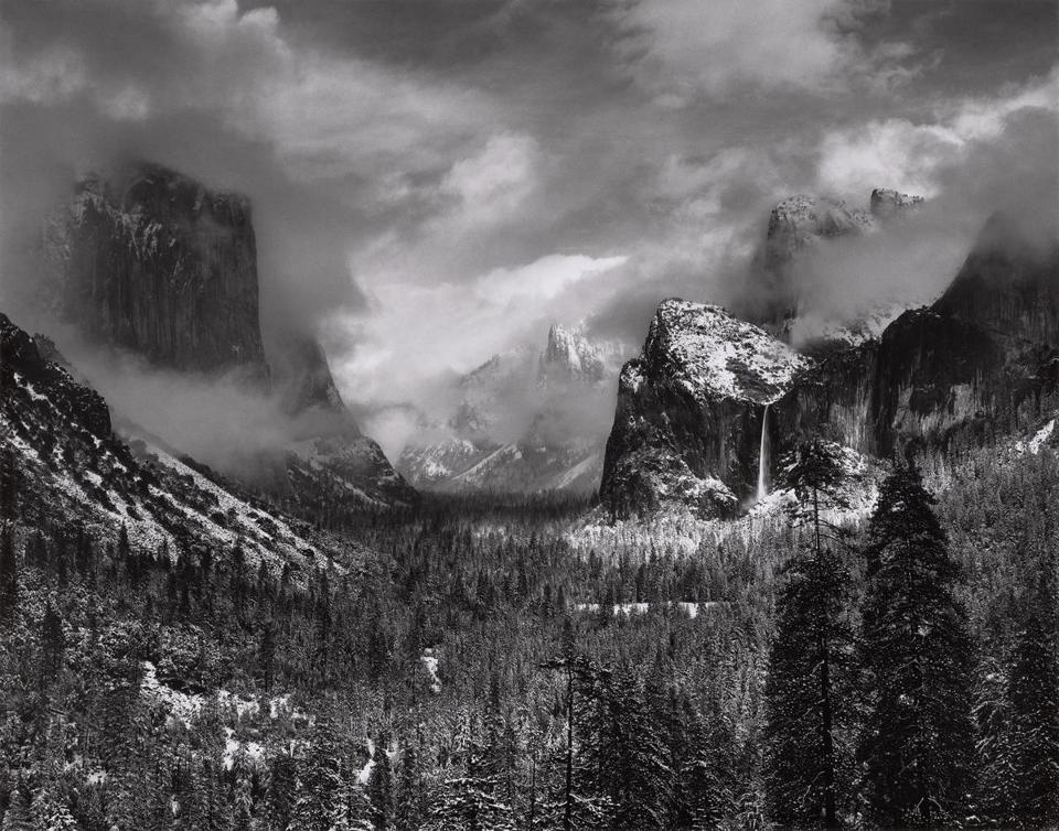 The work of nature photographer Ansel Adams will be featured in an exhibit opening at the MFA on Thursday. Above: Adams's Clearing Winter Storm, taken at Yosemite National Park about 1937.