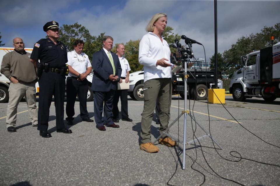 President of National Grid Marcy Reed spoke at a press conference Tuesday.