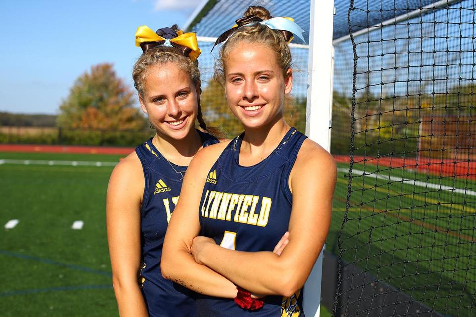 Barret twins, Ashley (No. 1) and Brianna (No. 4), of Lynnfield High. The two will play Division 1 college field hockey at Virginia Commonwealth. Mark Lorenz for the Boston Globe.