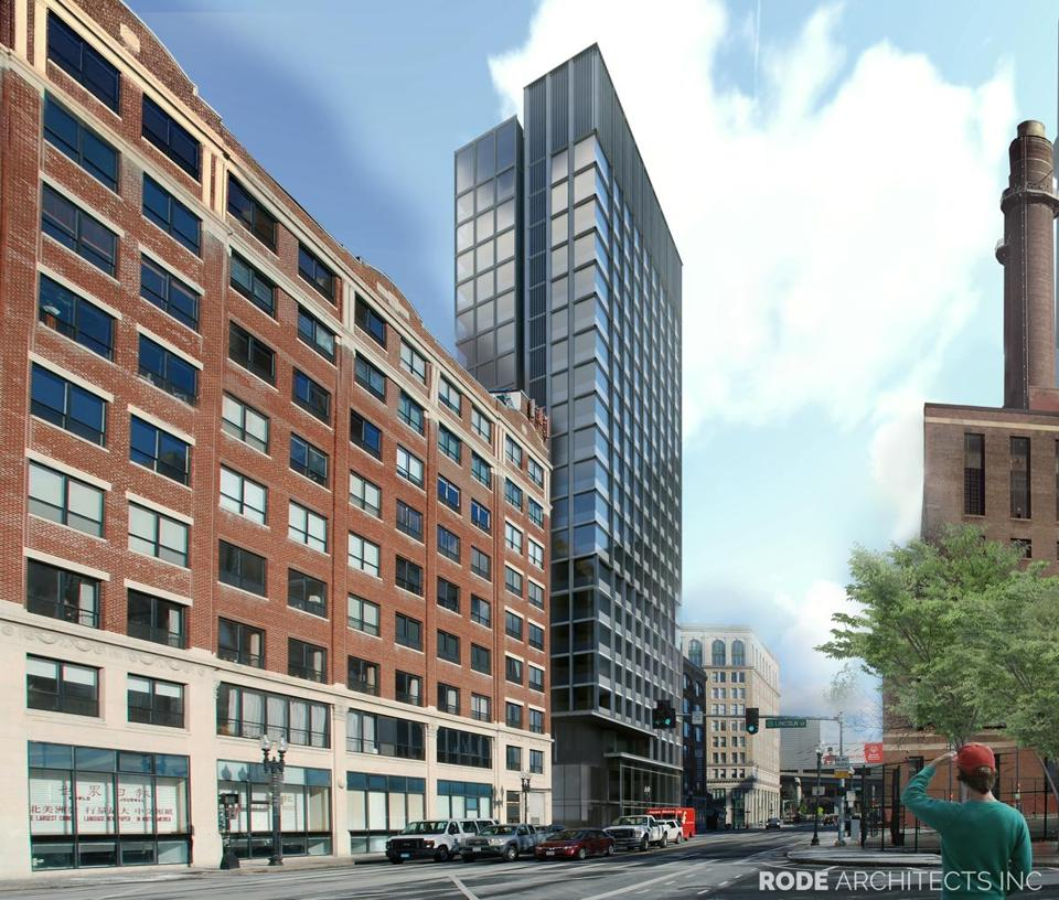 An artist's rendering of the 21-story hotel approved for Kneeland Street in the Leather District.
