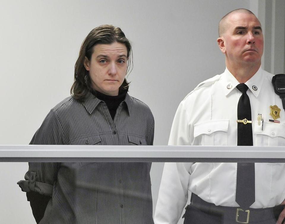 Sonja Farak (left) during her arraignment in Belchertown in 2017.