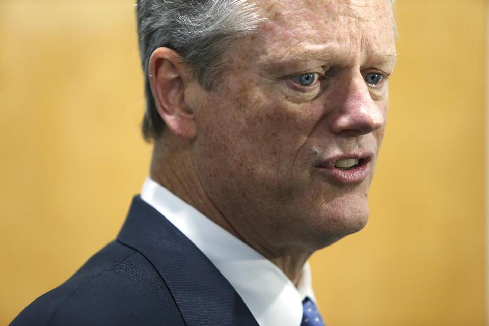 Pepperell, MA--10/11/2018-- Governor Charlie Baker speaks to reporters during a press availability following the Grand Opening & Ribbon Cutting for the new 1A Auto R&D Facility and video studio in Pepperell. (Jessica Rinaldi/Globe Staff) Topic: 19lowell Reporter: