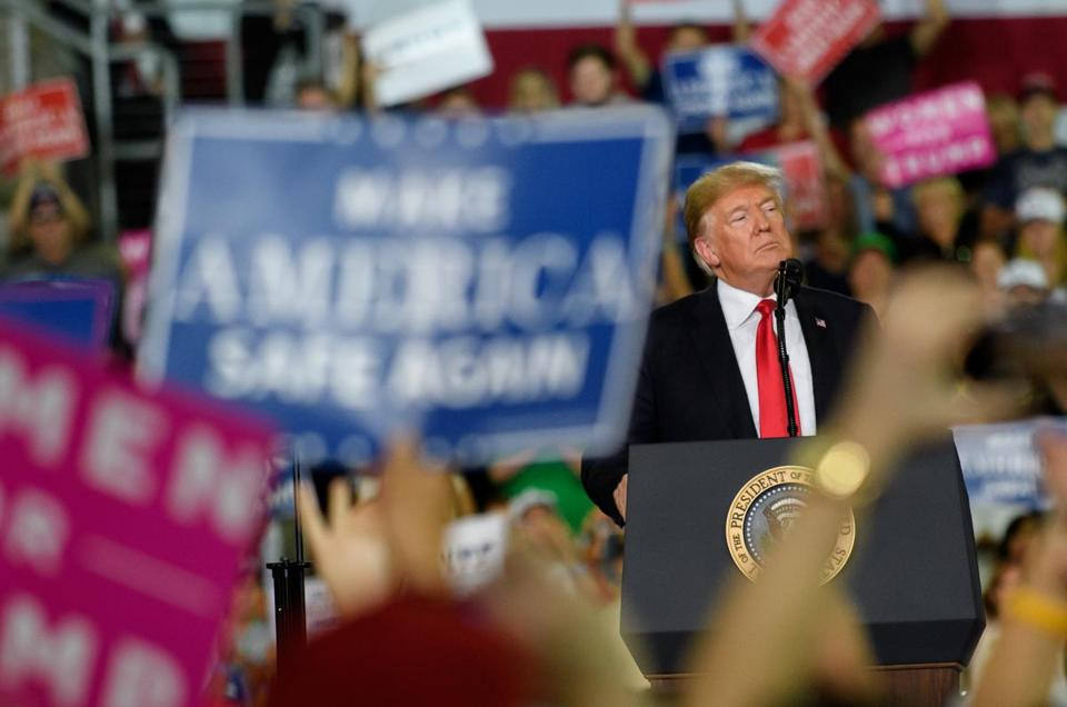 ERIE, PA - OCTOBER 10: U.S. President Donald Trump speaks to supporters at a rally at the Erie Insurance Arena on October 10, 2018 in Erie, Pennsylvania. This was the second rally hosted by the president this week, including one in Iowa yesterday. (Photo by Jeff Swensen/Getty Images) *** BESTPIX ***
