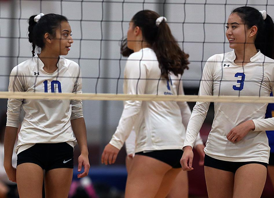 Westford, MA: 10-11-18: Anisha Mistry (#10) Michelle Zhang (#3) of the Acton-Boxborugh girls volleyball team are pictured during a match vs. Westford Academy. (Jim Davis/Globe Staff) and