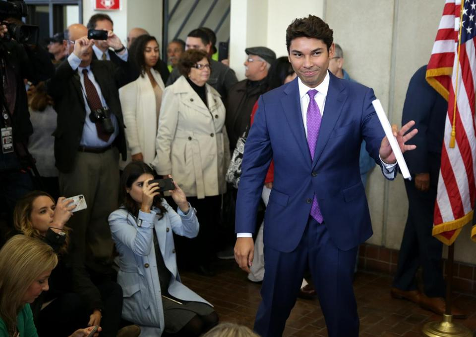 Fall River Mayor Jasiel F. Correia II entered a press conference at City Hall on Tuesday.