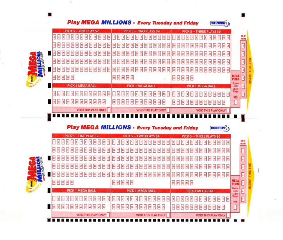 A pair of Mega Millions lottery sheets.