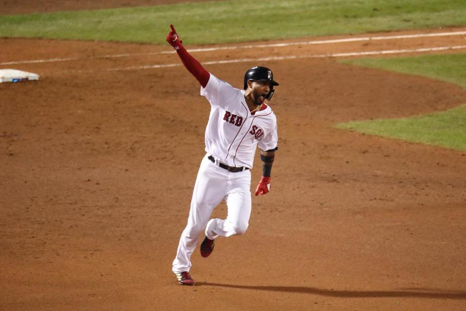 Eduardo Nunez's three-run shot sealed the Red Sox' Game 1 victory.