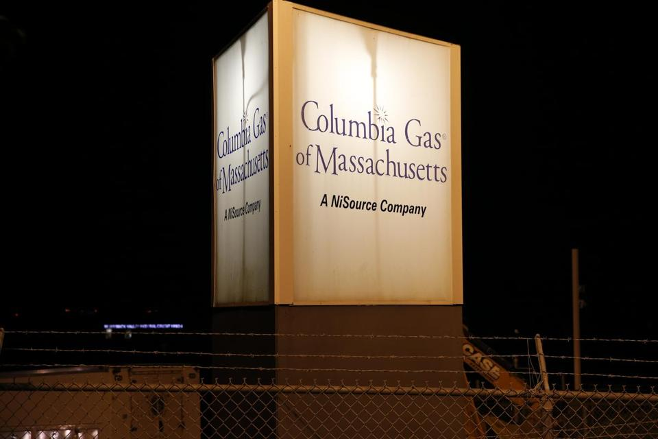 Lawrence, MA--9/13/2018-- Workers stage at Columbia Gas of Massachusetts in Lawrence. (Jessica Rinaldi/Globe Staff) Topic: Reporter: