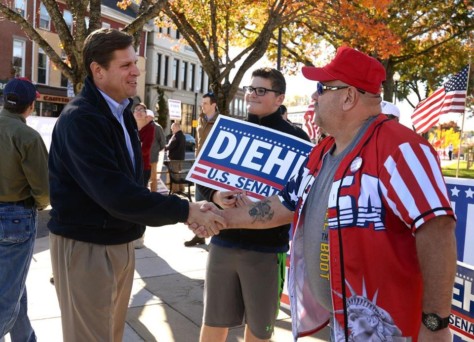 Republican Geoff Diehl, who is running for the US Senate, shook hands with supporters Sunday in Taunton.