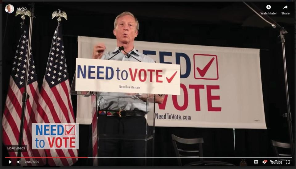 The Need to Vote initiative launched by Tom Steyer uses addressable TV ads in targeted regions.