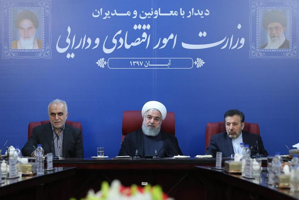 Iran's president, Hassan Rouhani (middle), at a cabinet meeting in Tehran on Monday.