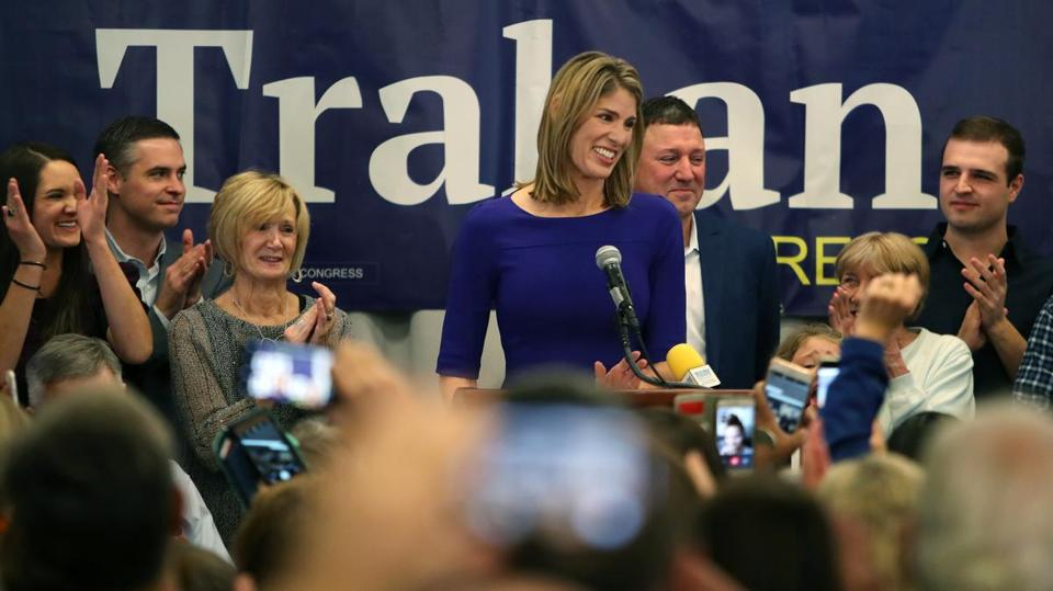 Lori Trahan gave her victory speech in Lowell on Nov. 6, with husband, David, behind her.