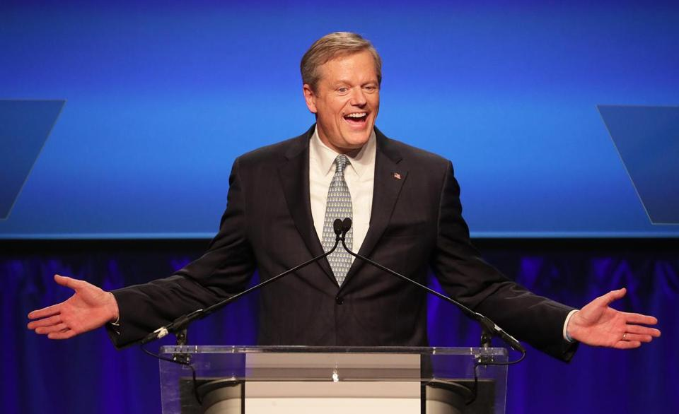 Governor Charlie Baker greets supporters at his campaign election night rally at the Hynes Convention Center.