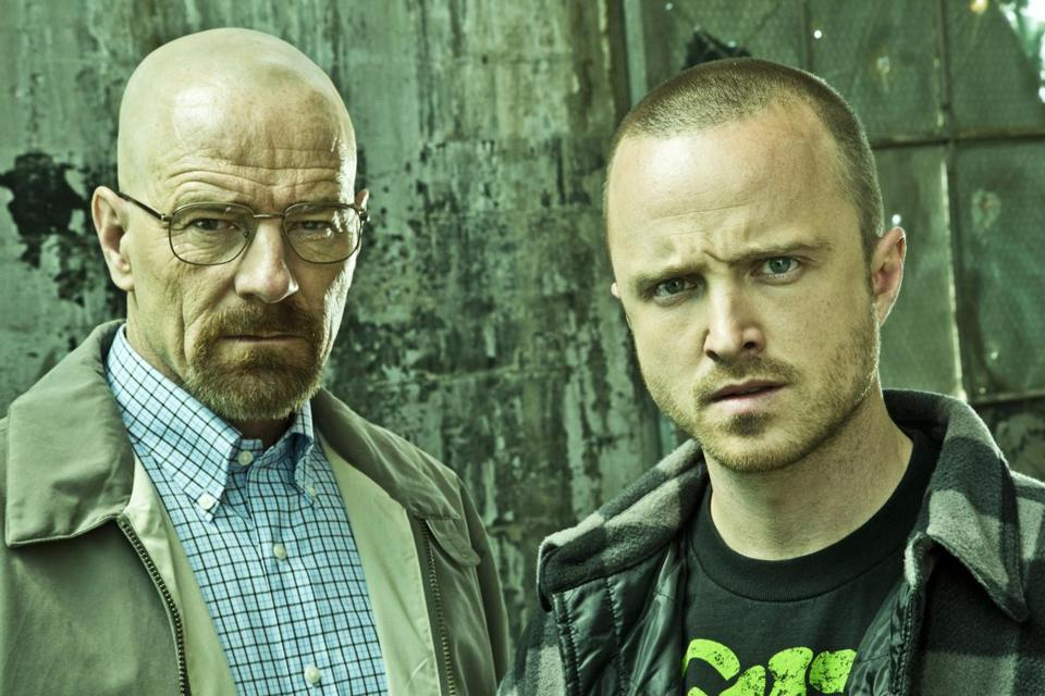 "Aaron Paul (right, with Bryan Cranston) will reportedly star in a ""Breaking Bad"" film."