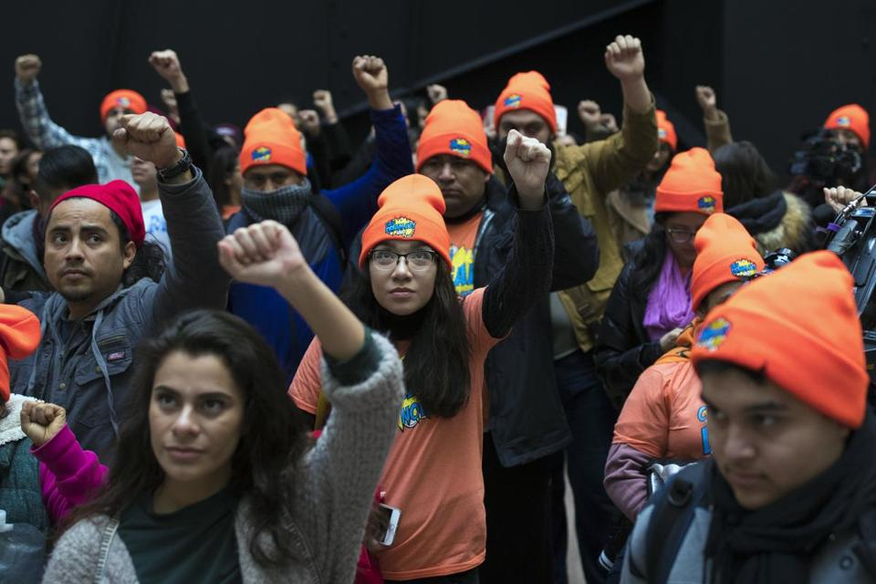 Supporters of DACA recipients protested in Washington in January.