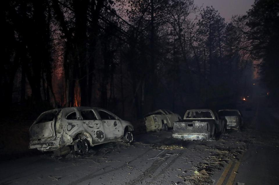 Abandoned cars in Paradise, Calif., after a fire moved through the area.