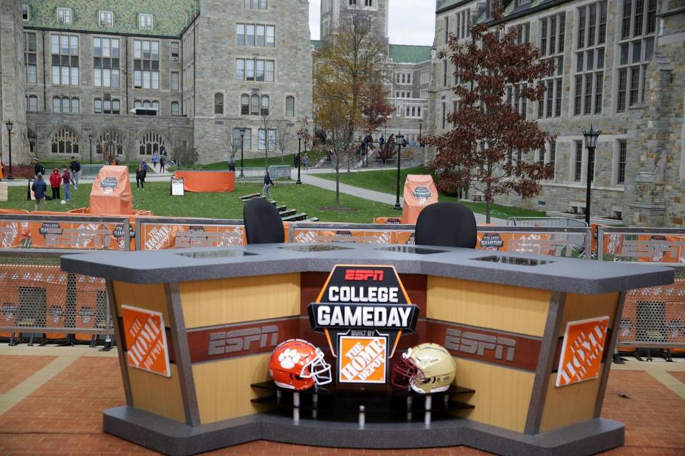 "The ""College GameDay"" set was erected on the BC campus Friday. The show will air 9 a.m.-noon on Saturday."