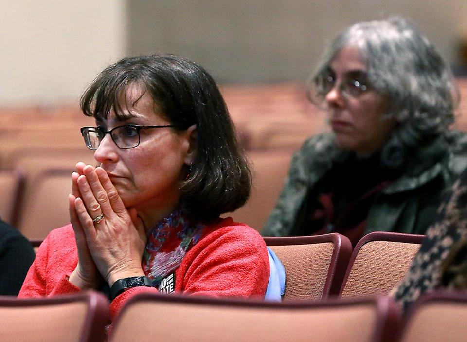 Reading MA 11/13/18 Anne Schwartz listening to residents opinions during a town select meeting discussing issues of racist graffiti found around town at Reading Memorial High School, Performing Arts Center. (photo by Matthew J. Lee/Globe staff) topic: reporter: