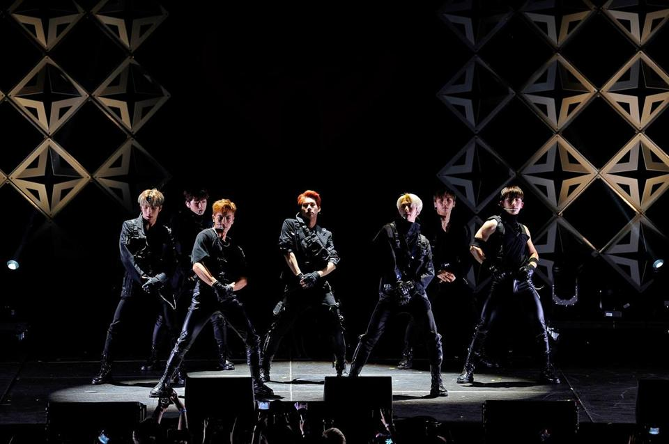 Monsta X, shown performing during iHeartMedia's Jingle Ball show in San Francisco on Dec. 1, closed the Boston show at TD Garden Tuesday night.