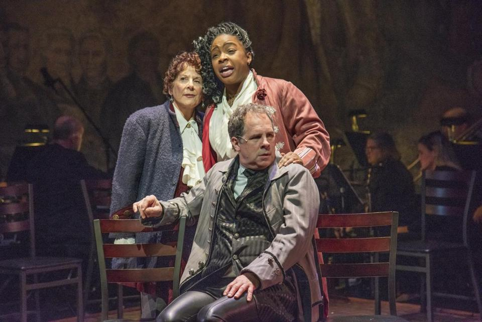 "From left: Bobbie Steinbach, Pier Lamia Porter, and Benjamin Evett in New Repertory Theatre's production of ""1776."""