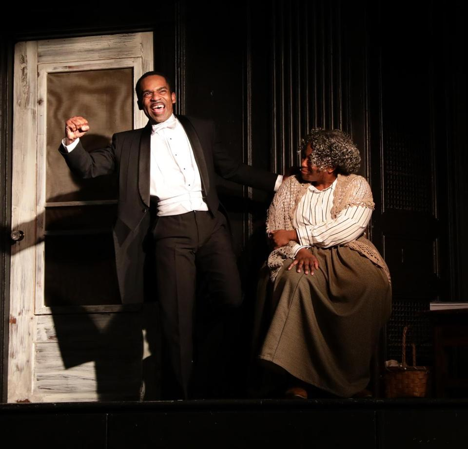 "Davron S. Monroe and Yewande Odetoyinbo in ""Breath & Imagination"" at Lyric Stage."