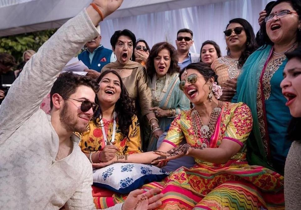 "The couple celebrated Friday during a ""mehendi"" ceremony at Umaid Bhawan in Jodhpur."