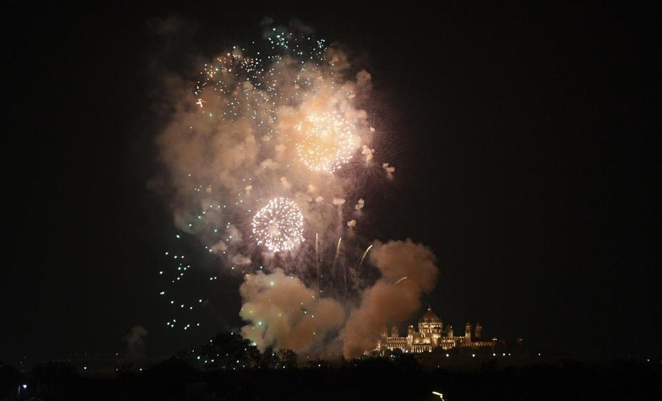 Fireworks lit up the sky over Umaid Bhawan the venue for the wedding of Priyanka Chopra and Nick Jonas in Jodhpur India on Saturday