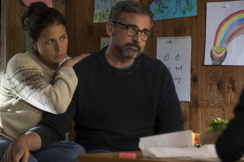 "Steve Carell (with Maura Tierney) in ""Beautiful Boy."""