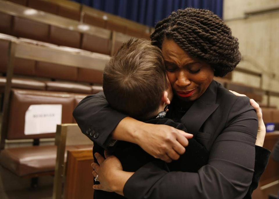 Boston, MA, 12/5/2018 -- Ayanna Pressley embraces former Chief of Staff Jessica Taubner (L) following a farewell at City Hall. (Jessica Rinaldi/Globe Staff) Topic: 06ayanna Reporter:
