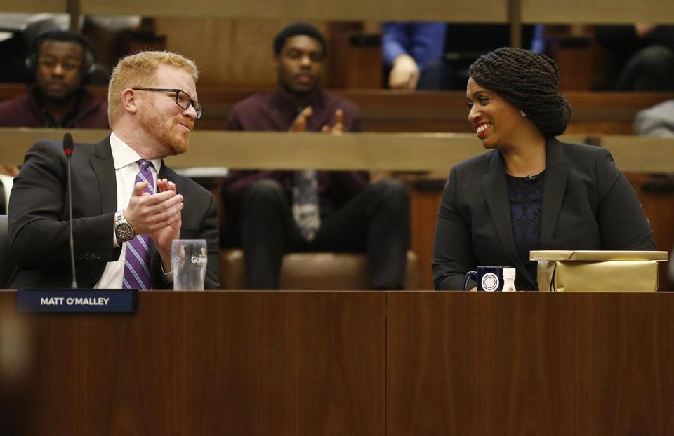 Boston, MA, 12/5/2018 -- Congresswoman-elect Ayanna Pressley (R) smiles as City Councilor Matt O'Malley wishes her farewell at City Hall. (Jessica Rinaldi/Globe Staff) Topic: 06ayanna Reporter: